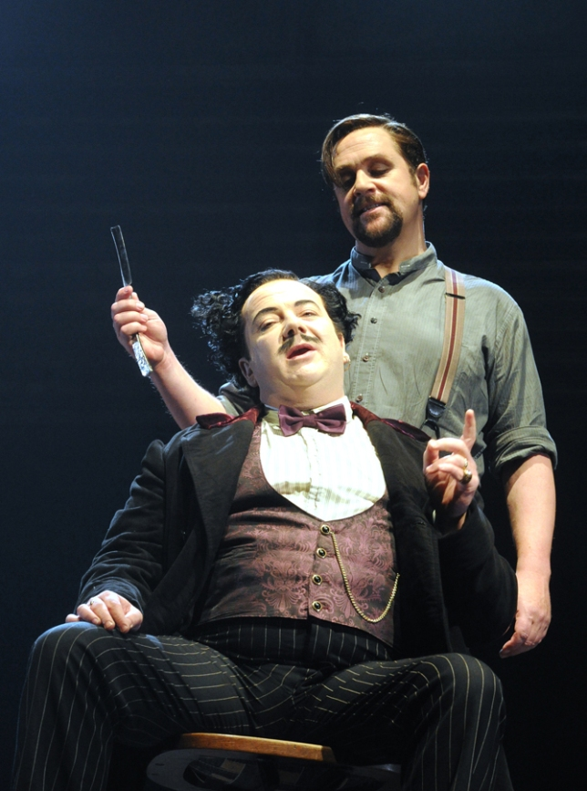 Robert Burt as Pirelli and Michael Ball as Sweeney Todd